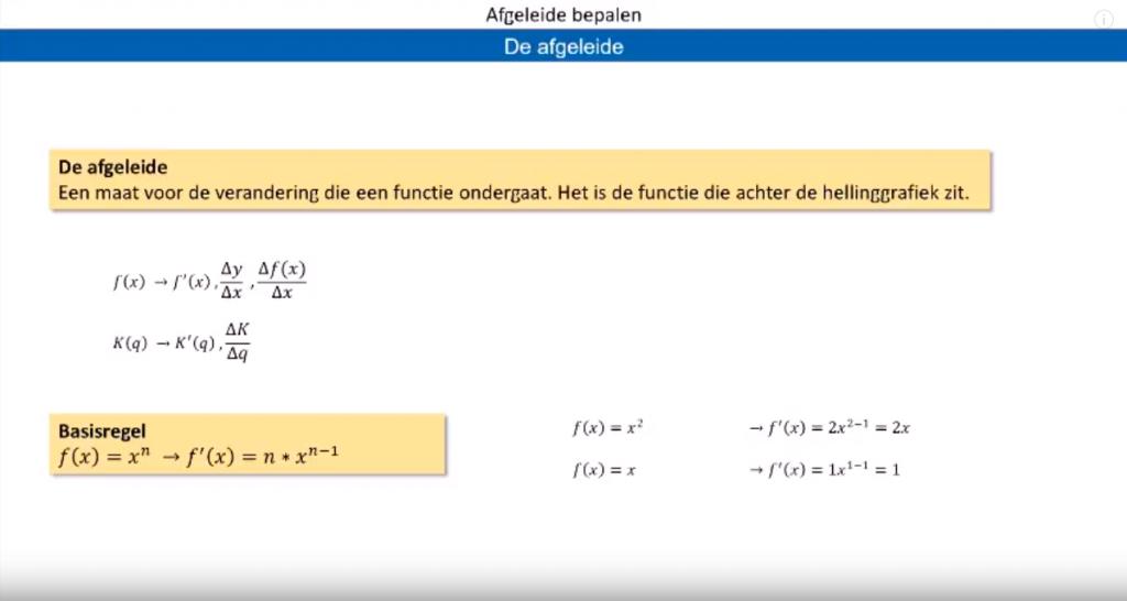 wiskunde a afgeleide