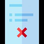 Een document met een kruis erop