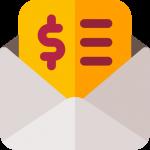 een bonnetje of factuur in een envelop